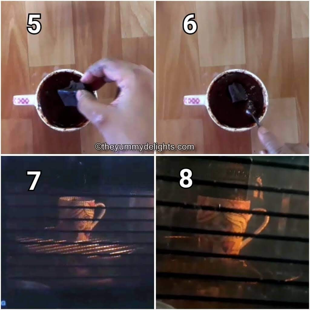 addition of dark chocolate compound & cook it in the microwave to make molten chocolate mug cake.