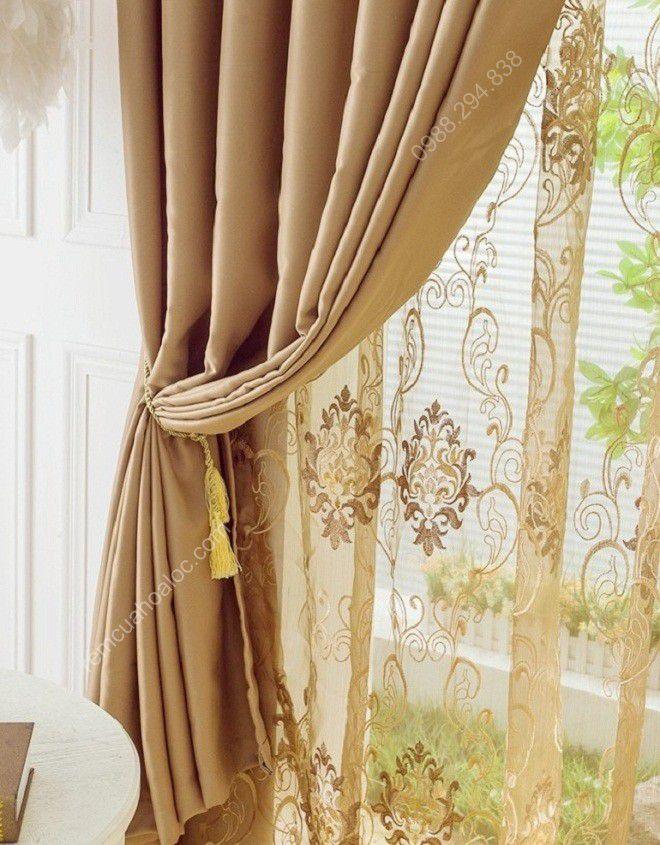 Rèm cửa sổ đẹp cao cấp một màu nâu vàng 12