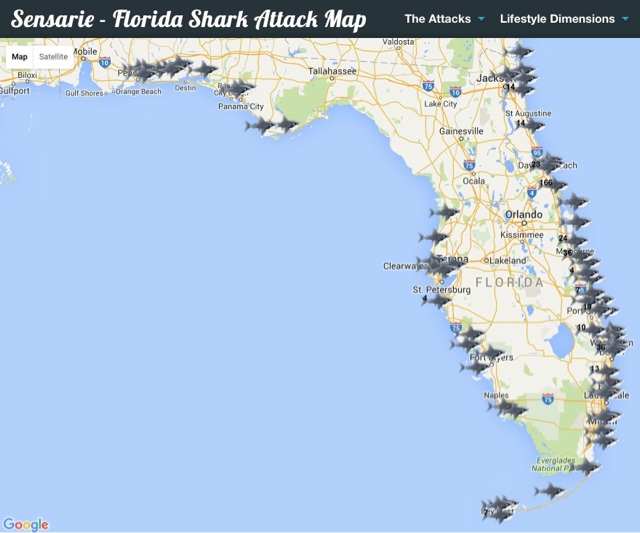 Every Florida Shark Attack On One Map - Map florida
