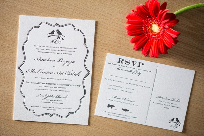 Auraleen & Clinton's Custom Letterpress Invitations