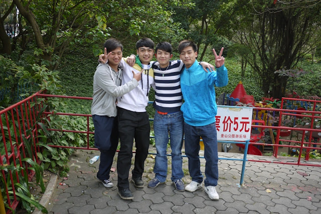 Four young men at Jingshan Park in Zhuhai