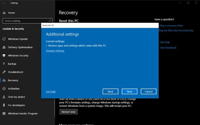 اعادة ضبط المصنع لنظام التشغيل ويندوز 10