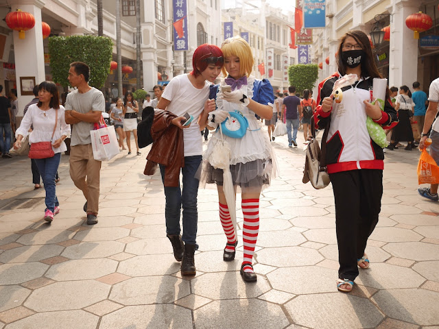 three females wearing cosplay costumes in Zhongshan, Guangdong