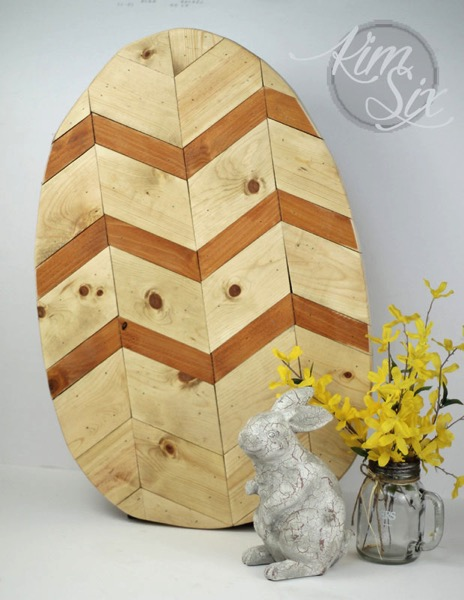 Wood Chevron Easter Egg
