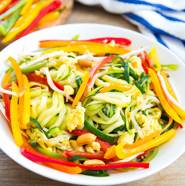 photo of a bowl of Pad Thai Zucchini Noodles