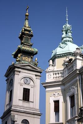 Church steeples in Belgrade Serbia