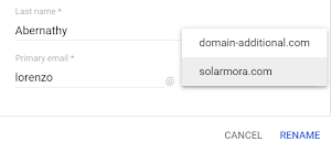 In the user panel, chose the new primary domain for the user.