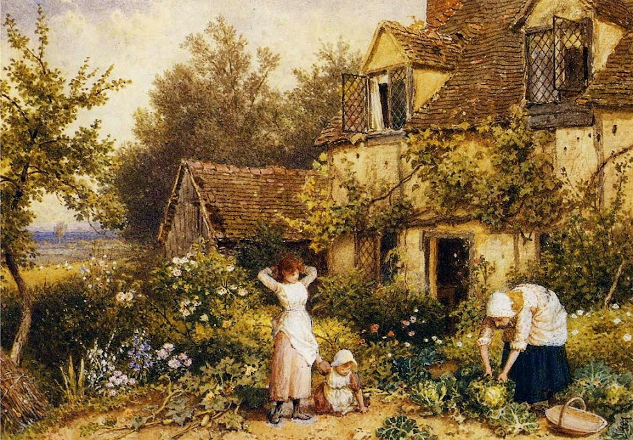 Myles Birket Foster - At the Cottage Door.