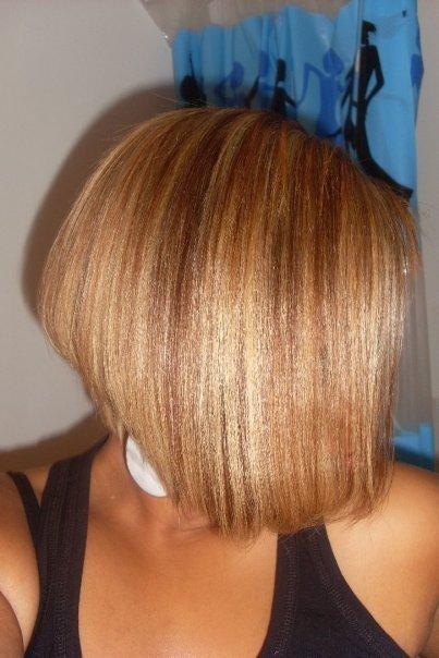 What 39 s rockin carr plongeant cheveux d fris s color s - Coupe carre plongeant tissage ...