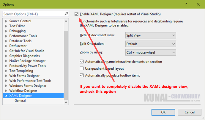 How to change the default XAML document view in Visual Studio 2015