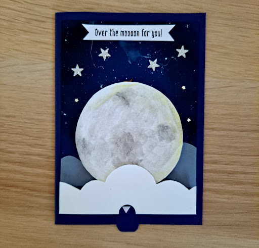 Interactive double-slider anniversary Over The Moon For You card