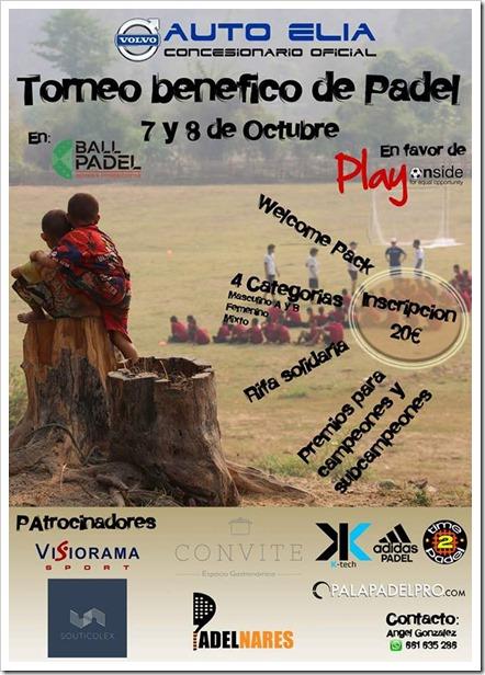 Torneo Benéfico de Pádel a favor de PlayOnside el 7/8 Octubre en Ballpadel Alcalá de Henares.
