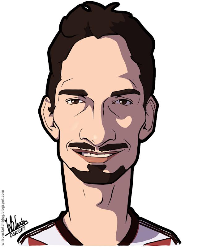 Cartoon caricature of Mats Hummels.