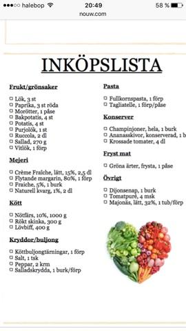 recept och inköpslista