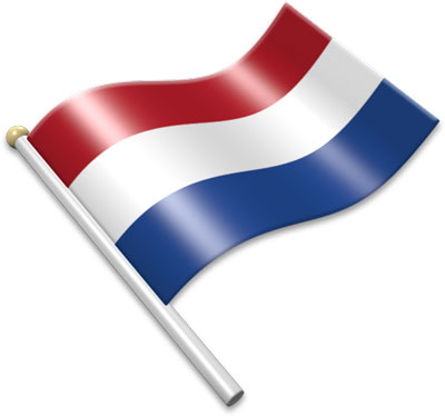 The Dutch flag on a flagpole clipart image