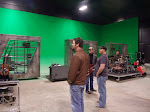we're practicing in a big green screen studio, which is odd.  We could make a video while we're here