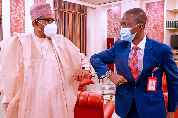 President Buhari Meets Newly Appointed EFCC Boss, Abdulrasheed Bawa