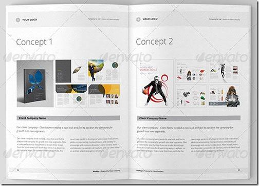 Plantilla para propuesta comercial limpia y moderna, formato InDesign