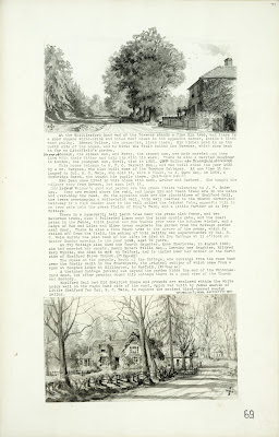 A Record of Shelford Parva by Fanny Wale P69 fo. 71, page 69. A black and white watercolour of view of Whittlesford road with description. At bottom: watercolour in black and white of Shelford hall. [fo.56, with mount H]