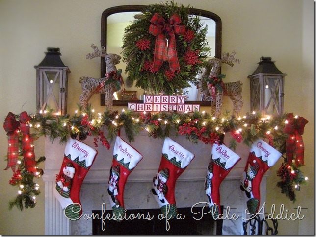 CONFESSIONS OF A PLATE ADDICT Plaid and Evergreen Christmas Mantel