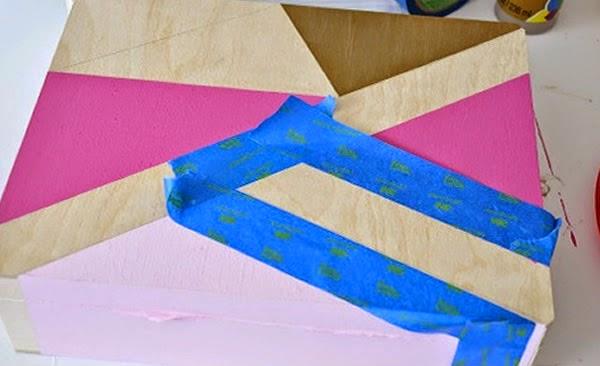Caixa com pintura geométrica