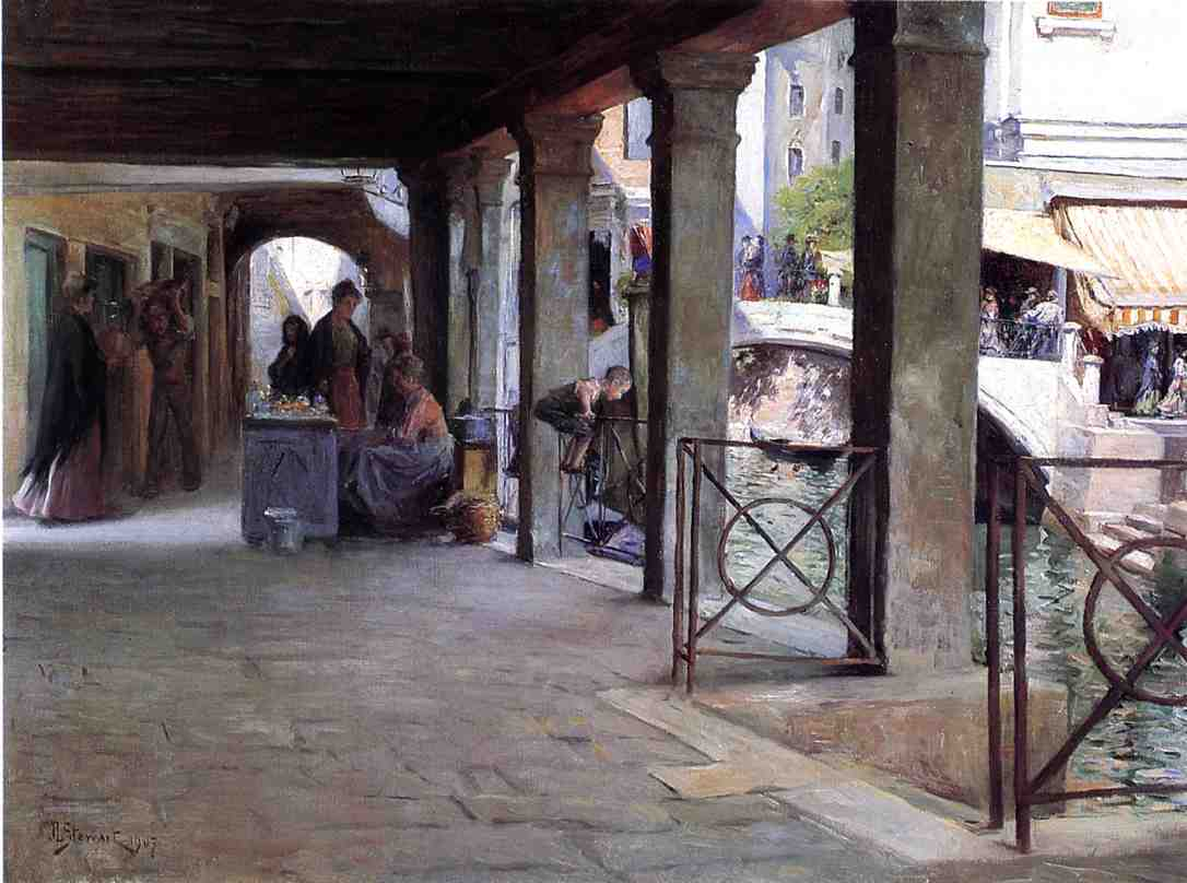 Julius LeBlanc Stewart - Venetian Market Scene