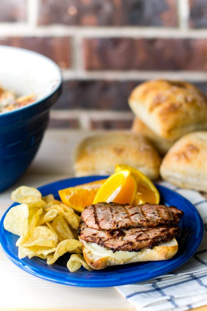 Grilled PorkTenderloin Sandwich with Balsamic Pepper Coleslaw  106