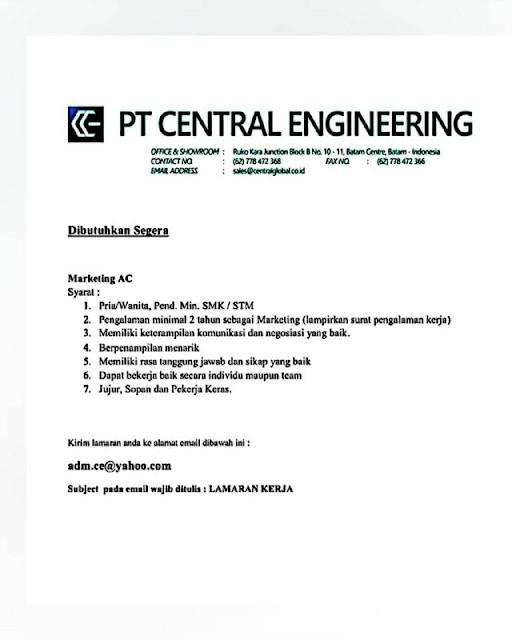 Loker Marketing AC di PT Central Engineering