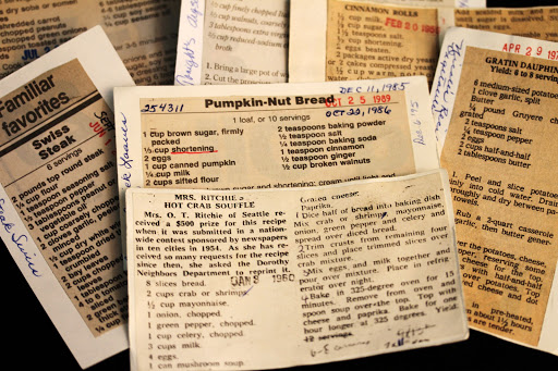 A handful of old Seattle Times recipe cards.  October 21, 2011. [Seattle Times/Courtney Riffkin]