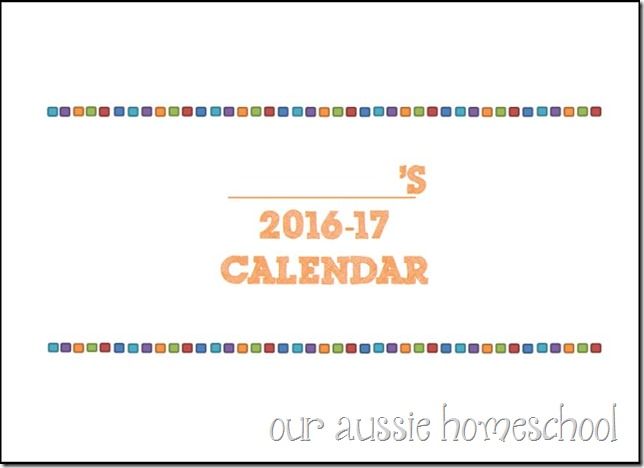 Calendar Printable - Our Aussie Homeschool