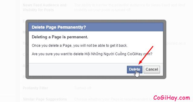xác thực lại việc xóa fanpage facebook