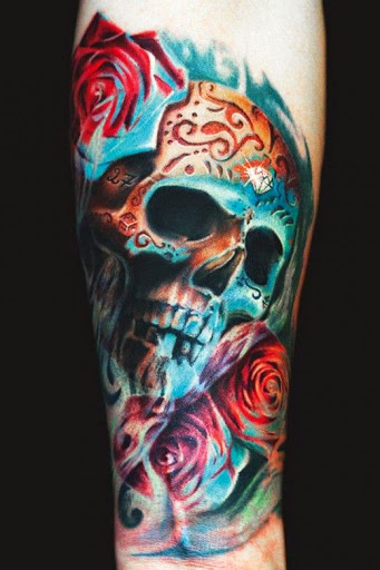 Rose And Skull Sleeve Tattoos For Women