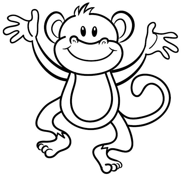 Monkey Coloring Pages Black And White Cute For Kids Monkey Animal Coloring  Sheet Colouring Pages Templates Printable For Adults From  Cutecoloringpages
