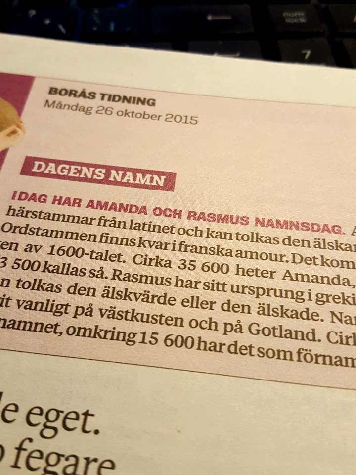 Dagens namn amanda rasmus 5