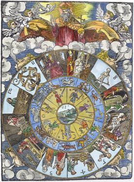 Woodcut From Nativity Calendar Of Leonhard Reymann, Emblems Related To Alchemy