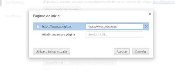 Google como pagina de inicio