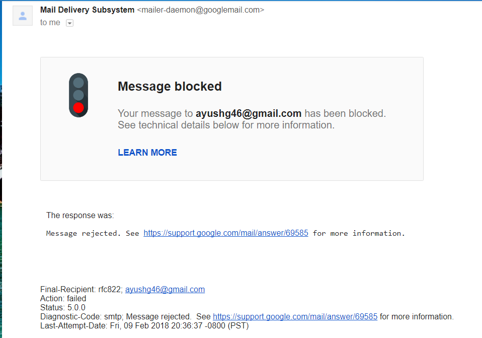 Message Blocked Gmail Help