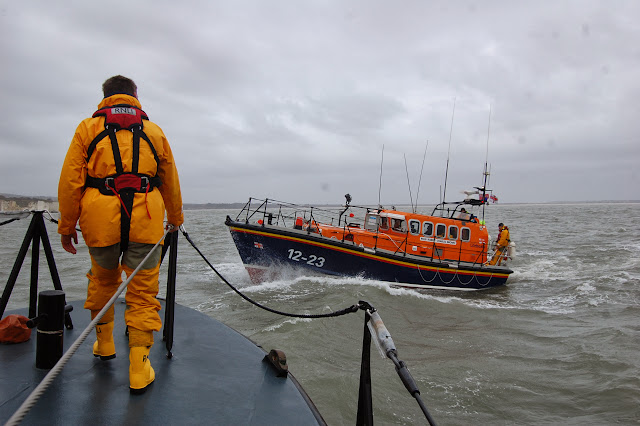 Poole all-weather lifeboat in Poole Bay with Swanage Mersey class lifeboat on Sunday 23 February 2014. Photo: RNLI/Dave Riley