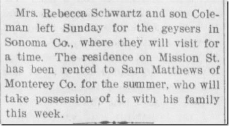 Colman and Rebecca travel Santa Cruz Evening Sentinel 6_15_1897 pg 3
