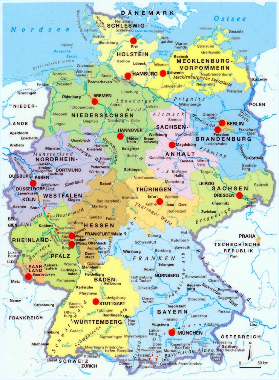 Landkarte Mit Bundeslndern  Deutschland Karte