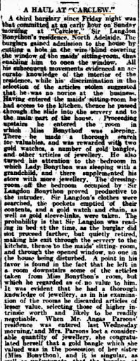 A Haul at Carclew (The Advertiser (Adelaide, SA) Monday 2 December 1912)