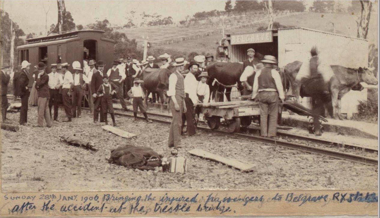 Photo by Charlie Hammond taken at Belgrave after the derailment 28th Jan 1906