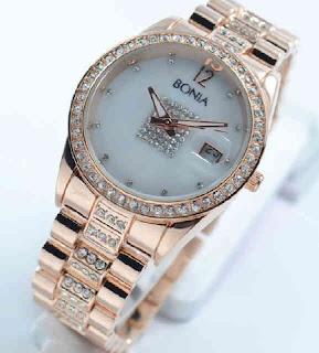 jam tangan Bonia date ring diamond rosegold