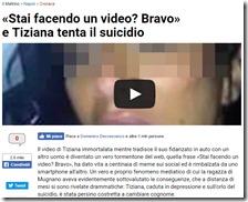 """Il titolo scandaloso de """"Il Mattino"""" su Tiziana Cantone"""