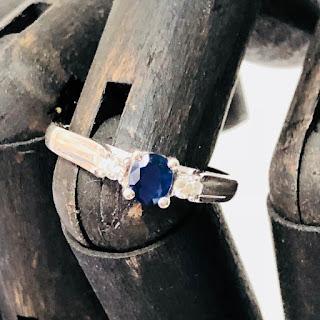 14K White Gold, Sapphire and Diamond Ring