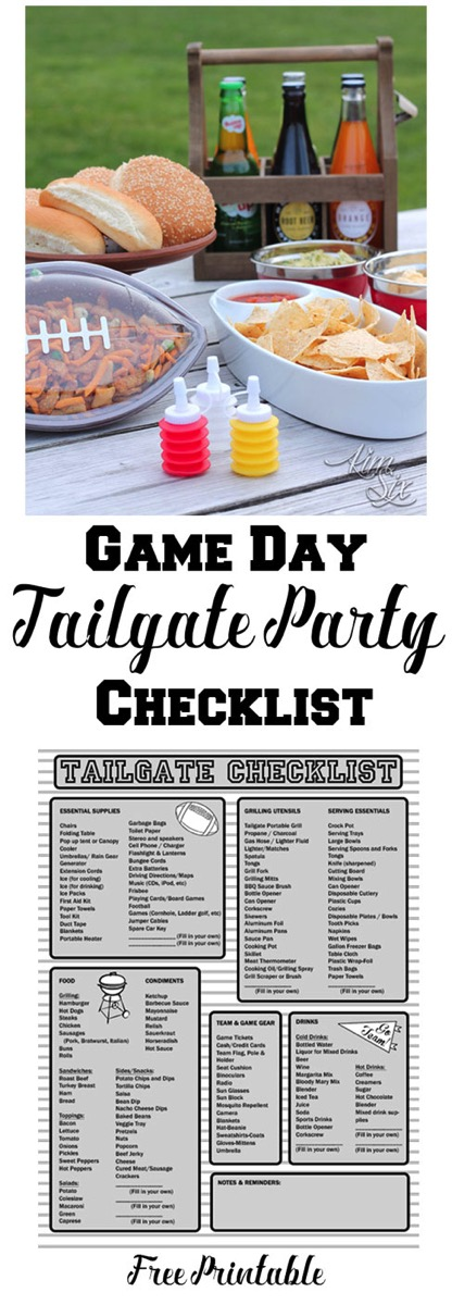 Don't forget anything when you throw your next tailgate party.  A free printable party check list perfect for game day or a picnic