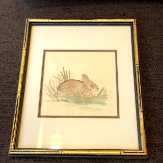 Signed Rabbit Watercolor Painting