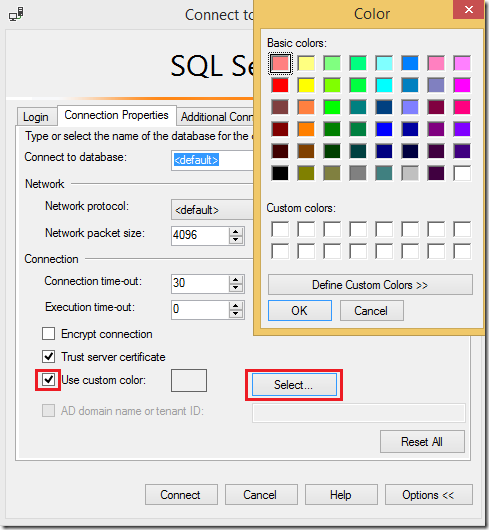 Nickyvv.com - SSMS Status Bar Color - ConnectionProperties