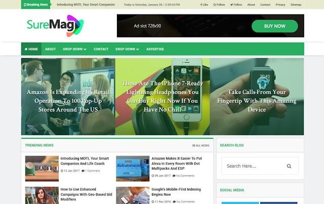 Sure Mag Free Premium Magzine Blogger Template Download