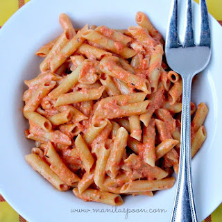 Pasta with Tuna in Creamy Tomato Sauce.